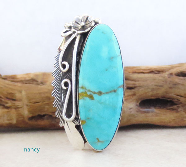 Image 1 of     Native American Jewelry Turquoise & Sterling Silver Ring Size 8.25 - 1249pl