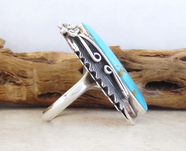 Image 2 of     Native American Jewelry Turquoise & Sterling Silver Ring Size 8.25 - 1249pl