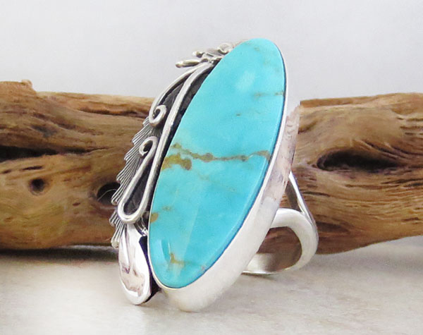 Image 3 of     Native American Jewelry Turquoise & Sterling Silver Ring Size 8.25 - 1249pl