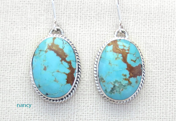 Image 0 of  Native American Jewelry #8 Mine Turquoise & Sterling Silver Earrings - 4891sn