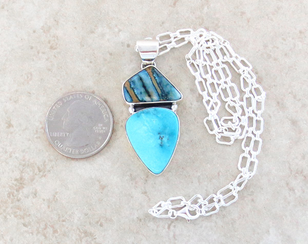 Image 1 of Native American Mammoth Tooth Stone & Sterling Silver Pendant - 4576sn