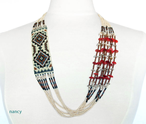 Navajo Handcrafted 30 Beaded Necklace & Earring Set Dennison Billy - 2016db