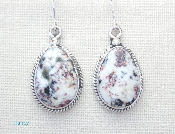 Image 0 of Native American White Buffalo Stone & Sterling Silver Earrings  - 1248sn