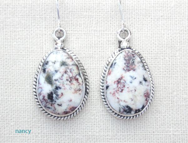 Native American White Buffalo Stone & Sterling Silver Earrings  - 1248sn