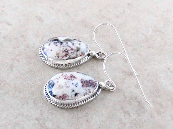 Image 1 of Native American White Buffalo Stone & Sterling Silver Earrings  - 1248sn