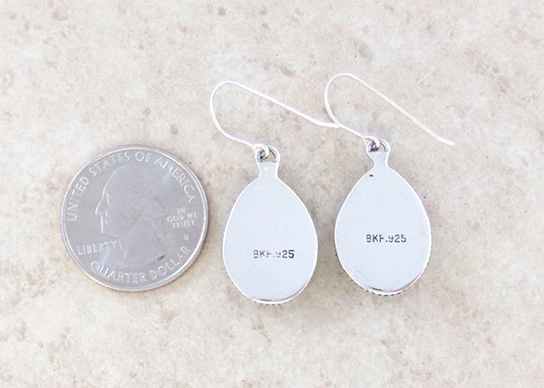 Image 2 of Native American White Buffalo Stone & Sterling Silver Earrings  - 1248sn