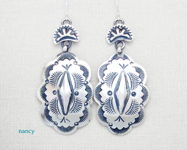 Image 0 of   Handcrafted Stamped Sterling Silver Earrings Native American Made - 4632sn