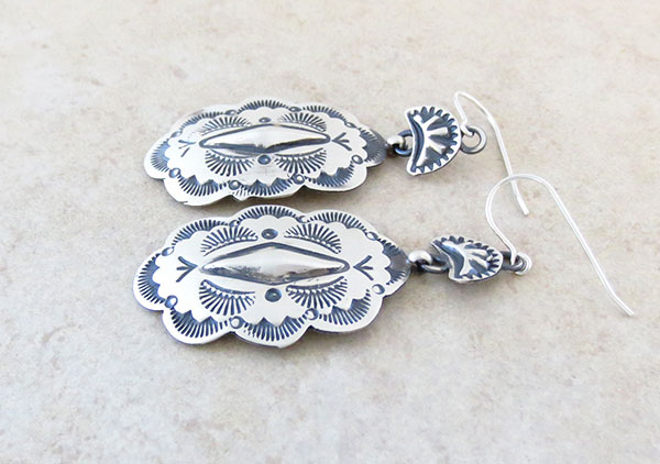 Image 1 of   Handcrafted Stamped Sterling Silver Earrings Native American Made - 4632sn