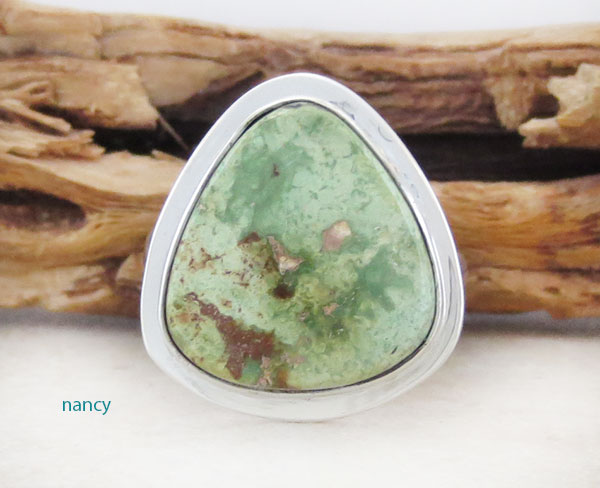 Navajo Jewelry Made Green Turquoise & Sterling Silver Ring Size 7 - 1254sn