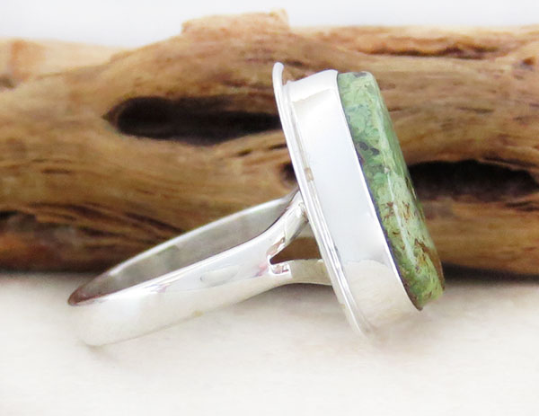 Image 2 of      Navajo Jewelry Made Green Turquoise & Sterling Silver Ring Size 7 - 1254sn
