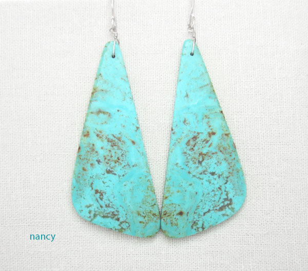 Huge Turquoise Slab Earrings Native American Made - 1275rio