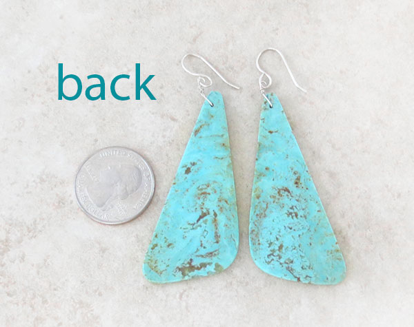 Image 2 of            Huge Turquoise Slab Earrings Native American Made - 1275rio