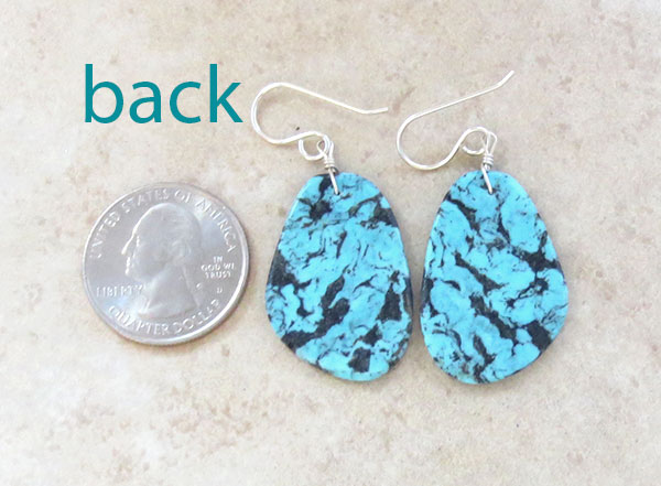 Image 2 of    Native American Made Turquoise Slab Earrings  - 4635pl