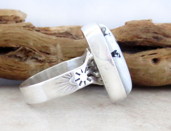 Image 2 of      Native American White Buffalo Stone & Sterling Silver Ring Size 9 - 2130sn