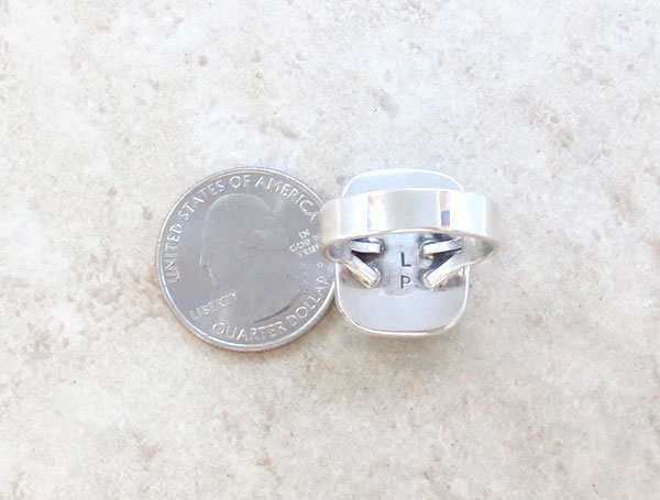Image 4 of      Native American White Buffalo Stone & Sterling Silver Ring Size 9 - 2130sn