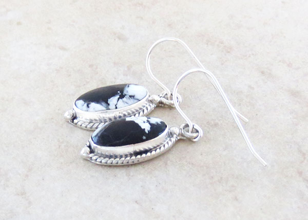 Image 1 of White Buffalo Stone & Sterling Silver Earrings Native American Jewelry - 2134sn