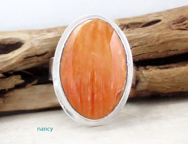 Image 1 of    Native American Orange Spiny Oyster & Sterling Silver Ring Size 7 - 2129sn