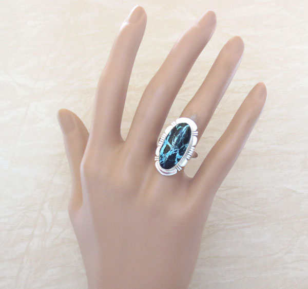 Image 1 of Boulder Turquoise & Sterling Silver Ring Size 7 Native American - 4578sn
