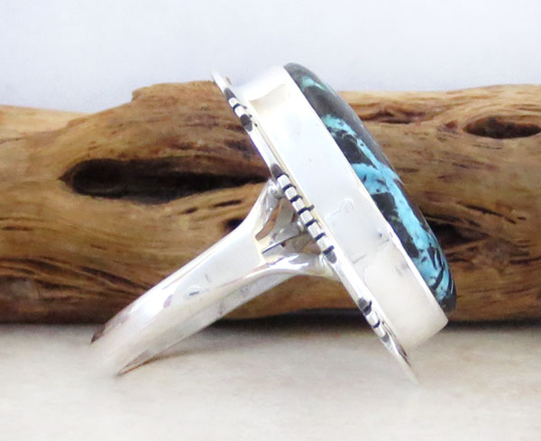 Image 2 of Boulder Turquoise & Sterling Silver Ring Size 7 Native American - 4578sn