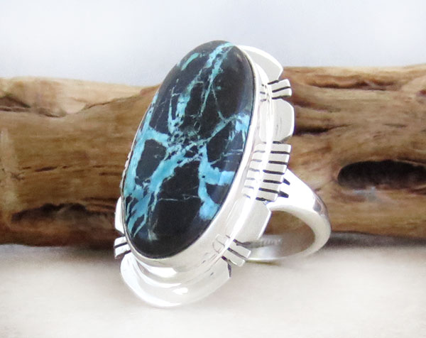 Image 3 of Boulder Turquoise & Sterling Silver Ring Size 7 Native American - 4578sn