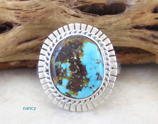 Image 0 of    Native American Turquoise & Sterling Silver Ring Size 7 - 4637sn