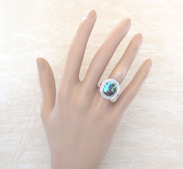 Image 1 of    Native American Turquoise & Sterling Silver Ring Size 7 - 4637sn