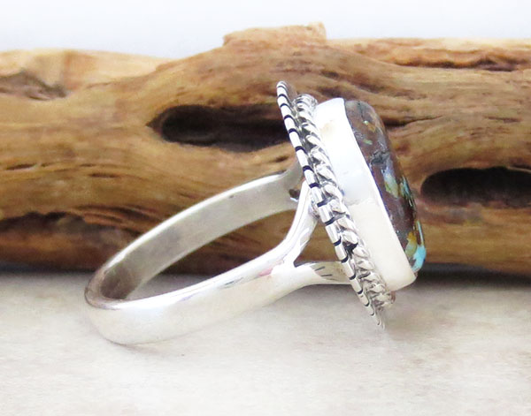 Image 2 of    Native American Turquoise & Sterling Silver Ring Size 7 - 4637sn