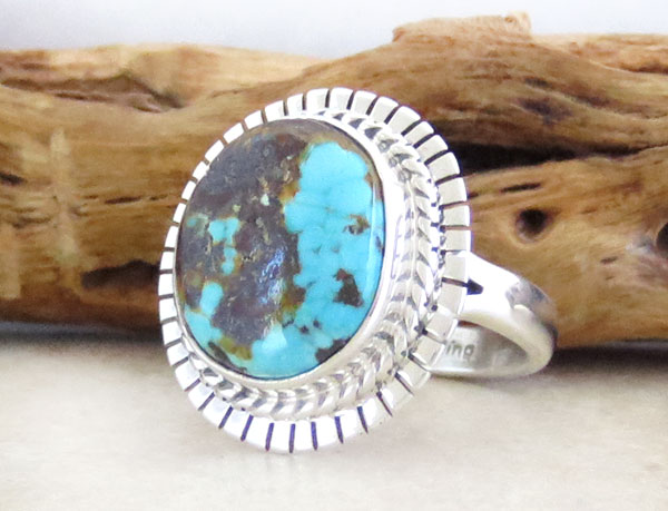 Image 3 of    Native American Turquoise & Sterling Silver Ring Size 7 - 4637sn