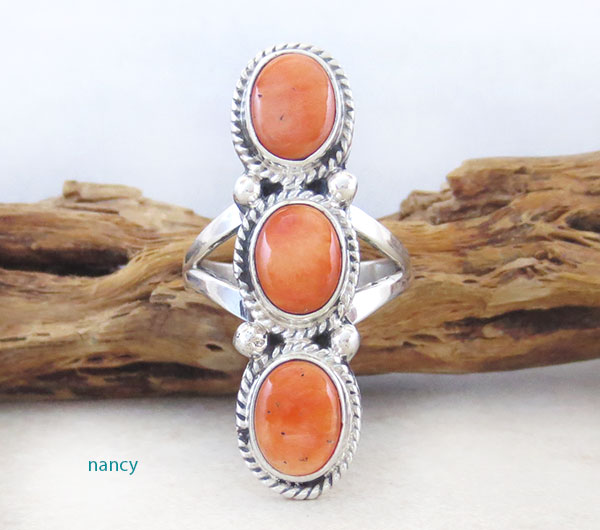Image 1 of     Orange Spiny Oyster & Sterling Silver Size 7 Native American - 4580sn