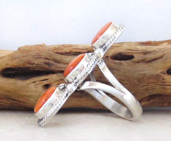 Image 2 of     Orange Spiny Oyster & Sterling Silver Size 7 Native American - 4580sn