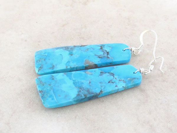 Image 1 of       Large Turquoise Slab Earrings Native American Jewelry- 4579pl