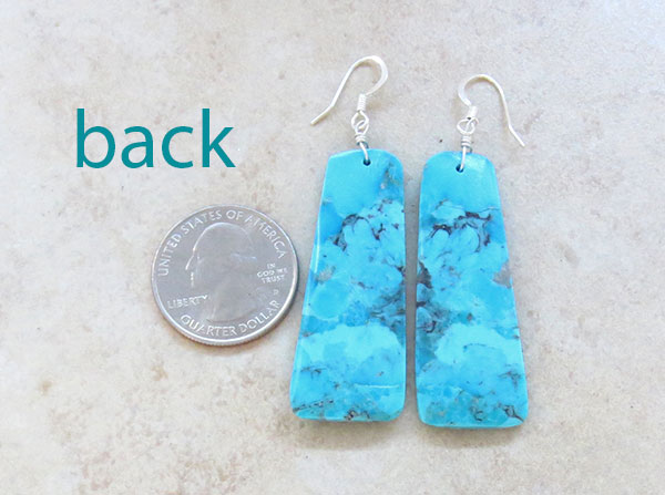 Image 2 of       Large Turquoise Slab Earrings Native American Jewelry- 4579pl