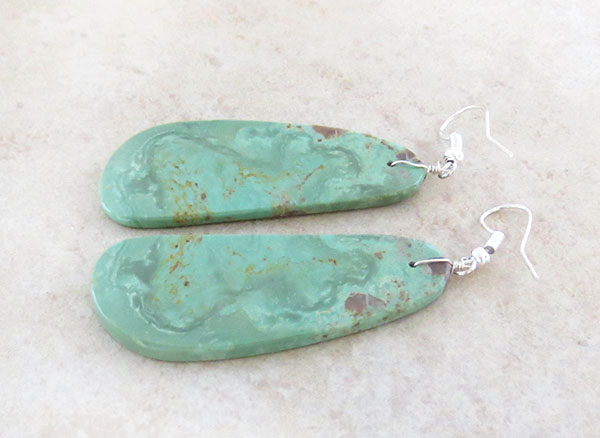 Image 1 of       Native American Jewelry Sea Green Slab Earrings Kewa - 4638rio