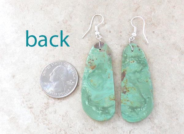Image 2 of       Native American Jewelry Sea Green Slab Earrings Kewa - 4638rio