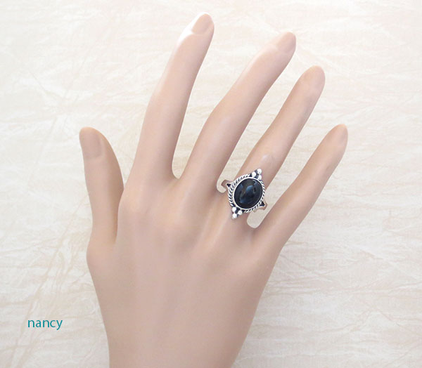 Image 1 of     Black Onyx & Sterling Silver Ring Size 6 Native American Made - 4742sn