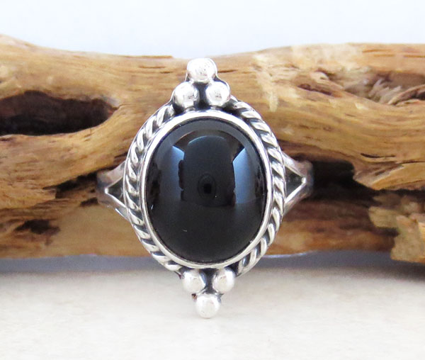 Image 0 of     Black Onyx & Sterling Silver Ring Size 6 Native American Made - 4742sn
