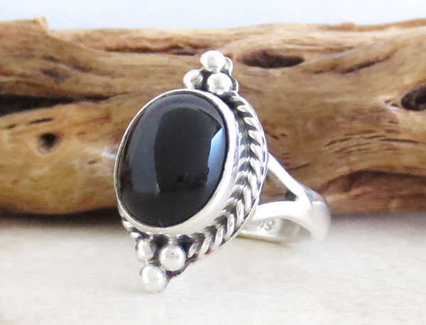 Image 3 of     Black Onyx & Sterling Silver Ring Size 6 Native American Made - 4742sn