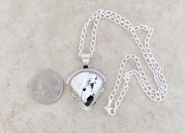 Image 1 of White Buffalo Stone & Sterling Silver Pendant Native American - 4895sn