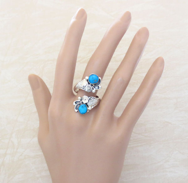 Image 1 of   Turquoise & Sterling Silver Ring Native American Jewelry - 4745rb
