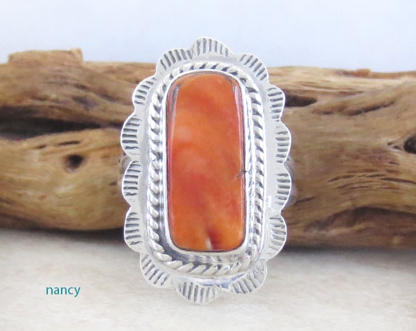 Image 0 of Orange Spiny Oyster & Sterling Silver Ring Size 6 Native American - 4748sn