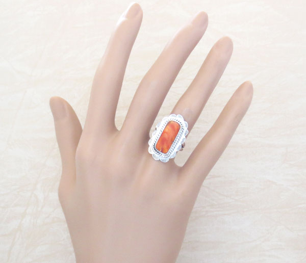 Image 1 of Orange Spiny Oyster & Sterling Silver Ring Size 6 Native American - 4748sn