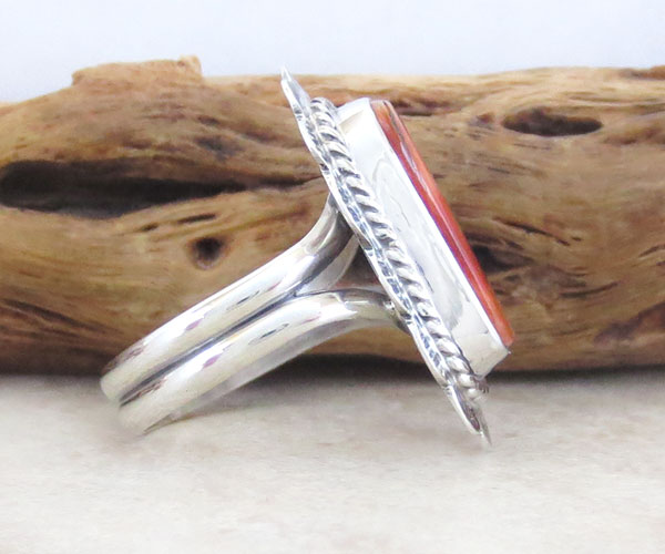 Image 2 of Orange Spiny Oyster & Sterling Silver Ring Size 6 Native American - 4748sn