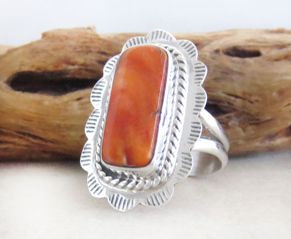 Image 3 of Orange Spiny Oyster & Sterling Silver Ring Size 6 Native American - 4748sn