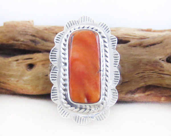 Orange Spiny Oyster & Sterling Silver Ring Size 6 Native American - 4748sn