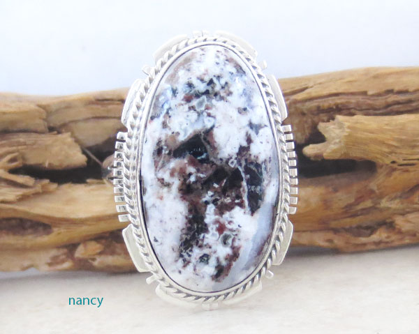 Native American White Buffalo Stone & Sterling Silver Ring Size 9 - 4641sn