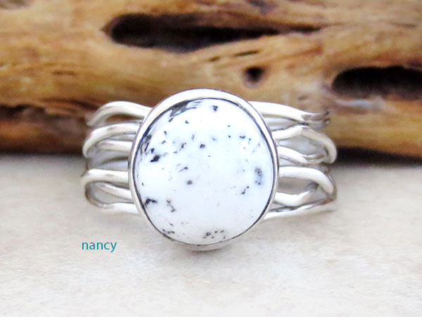 Navajo White Buffalo Stone & Sterling Silver Ring Size 8.5 - 4581sn