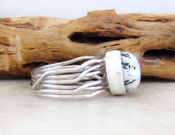 Image 2 of      Navajo White Buffalo Stone & Sterling Silver Ring Size 8.5 - 4581sn