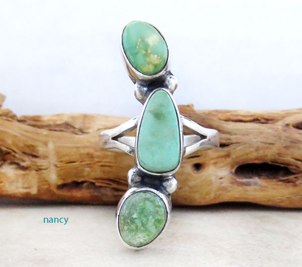 Image 1 of Turquoise & Sterling Silver Ring Size 8.5 Native American Made - 4750sn