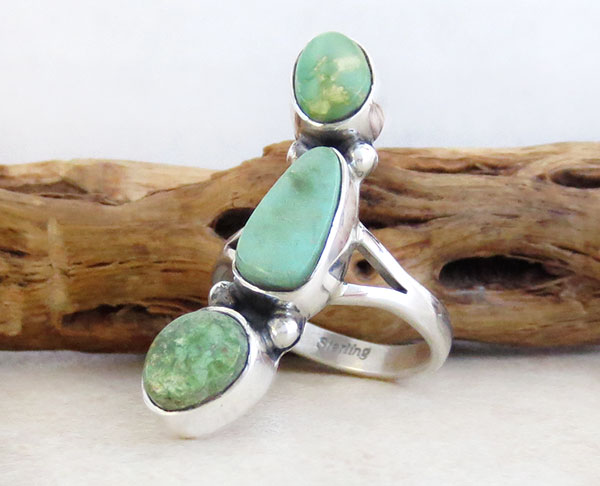 Image 3 of Turquoise & Sterling Silver Ring Size 8.5 Native American Made - 4750sn
