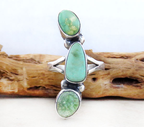 Turquoise & Sterling Silver Ring Size 8.5 Native American Made - 4750sn
